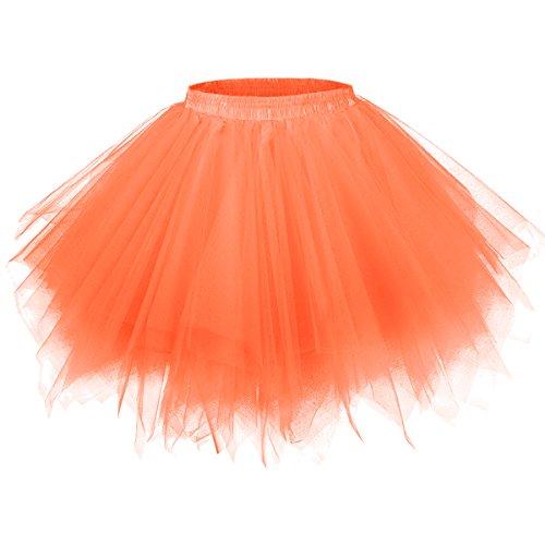 GirstunmBrand Damen 50er Vintage Tüllrock Petticoat Mehrfarbig Bubble Tanzkleid Rock Orange-S/M