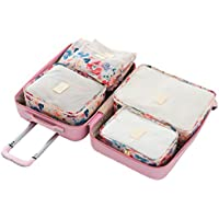 Comfysail 6pcs Flower Print Packing Cubes Travel Organisers Set Luggage  Compression Pouches for Travel-3 8357f476baf2b