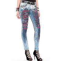 Cipo&Baxx WD375 Elle Boyanmış Yamalı İşlemeli Bayan Mavi Jeans