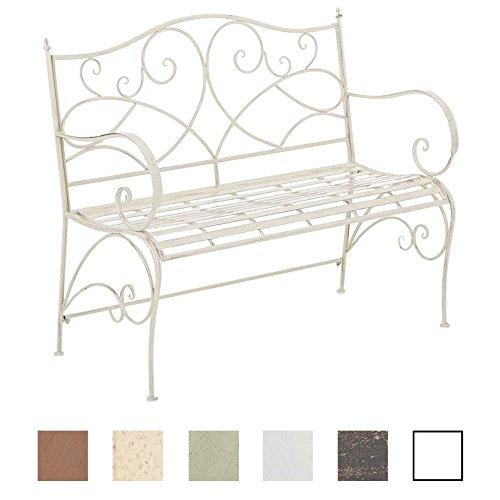 Clp panca da giardino filiz rustica - panchina esterno in ferro verniciato 104x52cm - seduta da balcone shabby chic - panchina outdoor con braccioli, 2/3 persone crema antico