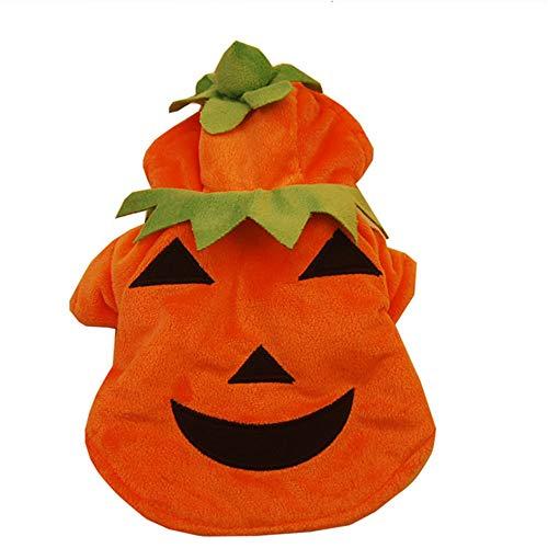 Fansu Halloween Kostüm Hund Haustier Hund Katze Halloween Kostüme, Einstellbare Warme Kleidung Netter mit Kapuze Pullover Hundepullover Party Cosplay Dekoration (XL,Kürbis)
