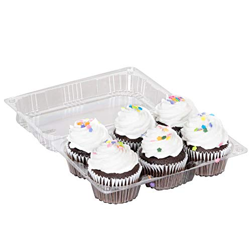 Einweg-Cupcake-Tablett aus Kunststoff mit Deckel für 6 Cupcakes oder Muffins, 20 Stück