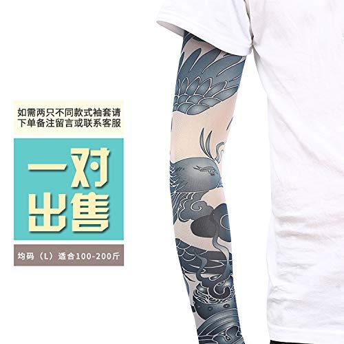 JinRui-Sport Tattoo Sleeve Tattoo-Ärmel Blume Arm Tattoo-Ärmel, L, fluoreszierend grün 34 2er Pack -