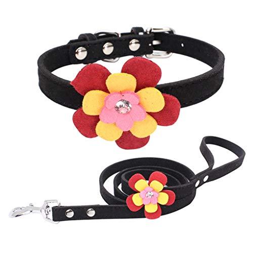 Timlatte Mode Strass Einstellbare Haustier-Kragen-Bunte Blumen-Legierung Schnalle Kragen Anti-verloren Pet Supplies schwarz M -