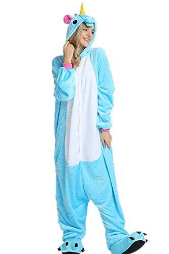 Kenmont Licorne Pyjama Deguisement Combinaison Animaux Pijama Adulte Enfant Unisexe Cosplay Costume Halloween (XL, Blue)