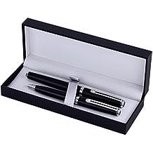 Inoxcrom I66910572 - Bolígrafo y pluma de titanio, acabado mate, color negro mate y cromado