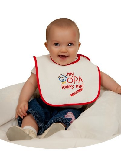 Opa Gift Idea for German or Dutch Baby 100% Terry Cotton Embroidered Baby Bib -