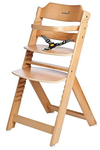 Safety 1st Timba - Seggiolone in legno di faggio con cintura regolabile, Beige (buche natur)