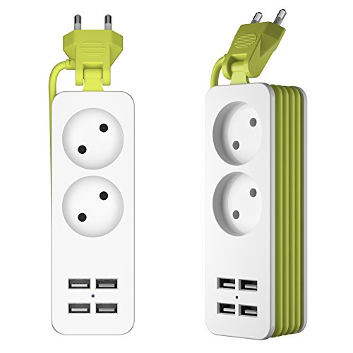 Regleta Enchufes, Regleta 2 Tomas con 4 Puertos de Carga USB con Alargadora Cable de 1.5m con Tecnología Inteligente IC Carga Múltiples Protección para Móvil u Otros Dispositivos en la Oficina y Casa