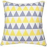 ZXKEE cojines Cover Algodón Wave Diseño decorativos funda cojin Plaza 45x45 cm (Triángulo gris amarillo)