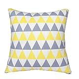 ZXKEE vagues Conception Moderne Accueil décoratifs Housse de coussin 45 x 45 cm (Triangle gris jaune)