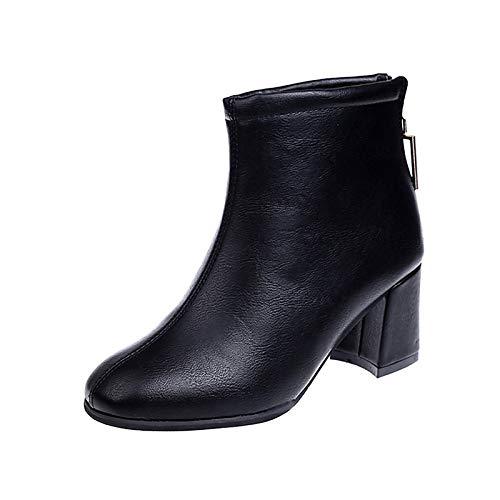 IWxez Damenmode Stiefel PU (Polyurethan) Winterstiefel Chunky Heel Square Toe Booties/Stiefeletten Schwarz/Braun, Schwarz, US7.5 / EU38 / UK5.5 / CN38 - Black Square Toe Cowboy-stiefel