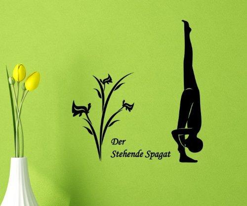 Wandtattoo Stehende Spagat Yoga Übung Sport Sticker Wand Spruch Aufkleber 5G090, Farbe:Lindgrün glanz;Hohe:35cm