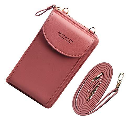 Jangostor kleine Crossbody Tasche Handy - Tasche Brieftasche mit Credit Card Slots für Frauen (pink)