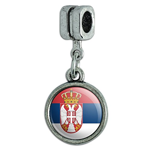 Italienisches im europäischen Stil Armband Charm Bead Land National Flagge o-s Serbia National Country Flag With Coat of Arms
