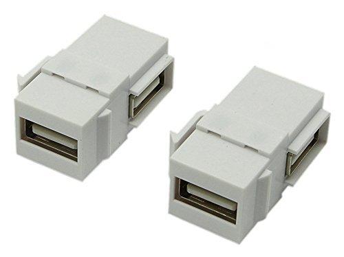 CGTime USB 2.0 Keystone-Steckereinsätze, 90 Grad, rechtwinklig, USB 2.0 Adapter, weiblich auf weiblich, für Wandplatte, Steckdose, Weiß -