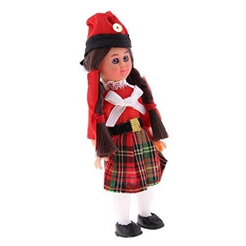 Sharplace Handgefertigt International Ethnische Minipuppen, Britische Kostüme Mädchen Puppen, Tourist Souvenirs Geschenke ( Höhe: 4 Zoll (Tourist Kostüm Mädchen)