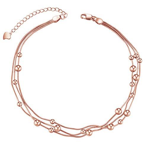 SHEGRACE Damen Fußkettchen aus 925er Sterlingsilber mit dreischichtigen Ketten und Perlen für Summer Beach, Geschenk für Mädchen, Frauen, Mutter, Frau, Freundin