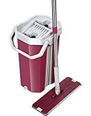 Mop with Bucket - Pureatic by UPC Upgraded Hands-Free Squeeze Microfiber Flat Spin Mop System 360° Flexible Head (38X12.5 cm) Mop with 2 Super-absorbent Microfiber Pads, 59.8'' Extended Stainless Steel Handle (Pink)
