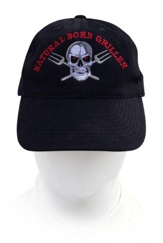 Cap / Kappe, Stickmotiv Natural Born Griller, Cap-Farbe schwarz, hochwertig bestickt vom Stickerei-Fachbetrieb; Cap 100% Baumwolle
