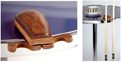 Transportabler Billard Queuehalter aus Leder für 2 Queues