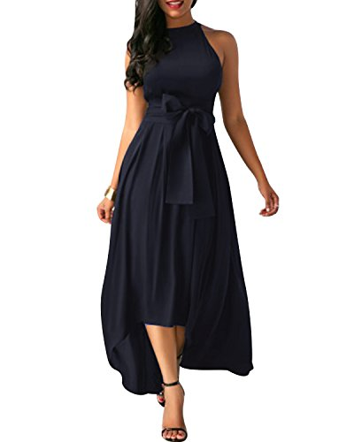 GIKING Women Cardigan+Belt+2 Piece Dress Formal Asymmetrical Long Dresses