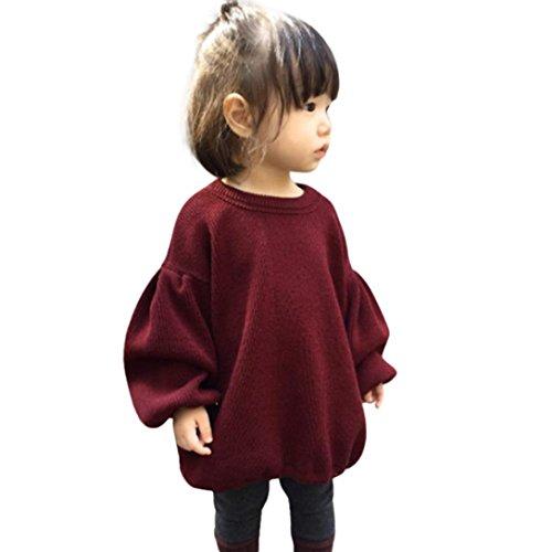 Babykleidung Tops, Honestyi Baby Mädchen Herbst Winter Solid Lantern Ärmel Hemd Tops Outfits Kleidung (Weinrot, 3T/110CM)