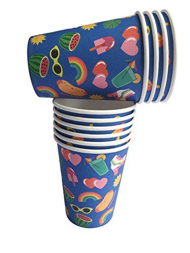 """InviteMe 10 Farbenfrohe Papp-Becher aus der Serie """"Kitiya"""" im 80er Jahre Retro-Stil mit Rollschuhen, Hot-Dogs & Eis am Stiel"""