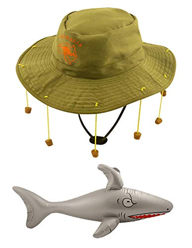 Islander Fashions Adults Australia Day Kost�m Australian Cork Hat Inflatable Shark Zubeh�r (Australian Hat H97001 + Inflatable Shark X99001)