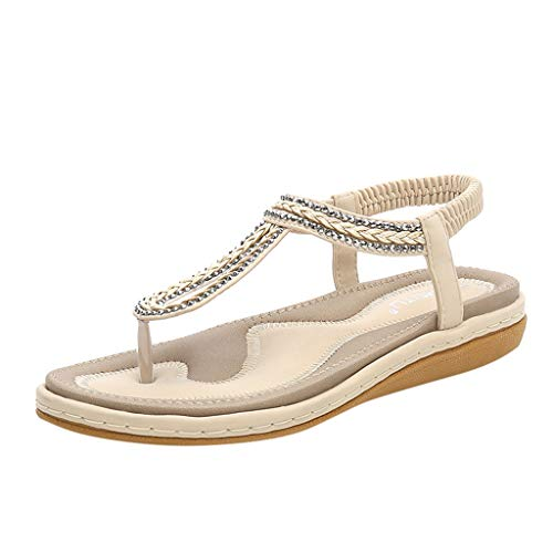 SHE.White Damen Sommer Elegant Sommer Zehentrenner Glitzer Leder Flach Sommerschuhe Bohemia Beach Sandal Flach Sandals PU Leder Flip-Sandalen Toe Separator -
