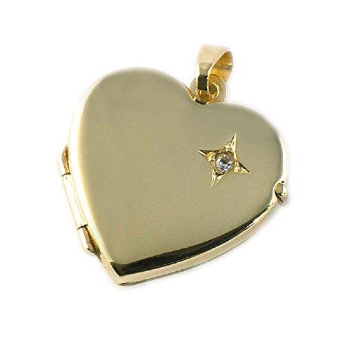 ASS 333 Gold Medaillon Anhänger Foto Herz zum Öffnen, mit Zirkonia,glanz (Gold Schmuck Medaillons)