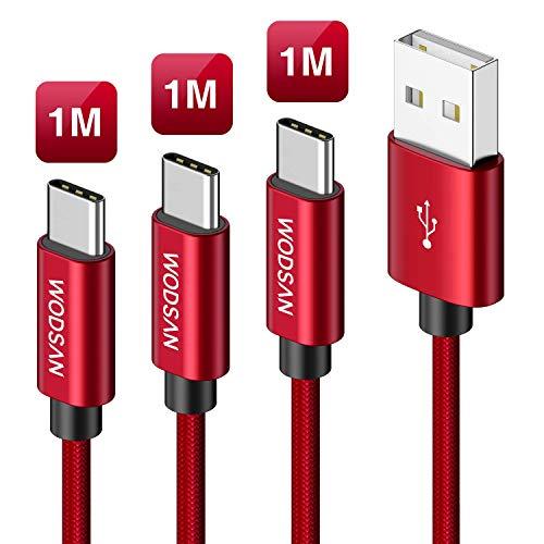 Cable USB Tipo C, [3Pack, 1M] Cargador USB Tipo C de Nylon Trenzado Carga Rápida y Sincronización para Samsung S9/ S8/ Note8, Xiaomi Mi A1/A2, Moto G6, Huawei P20/Mate20, LG, Sony Xperia