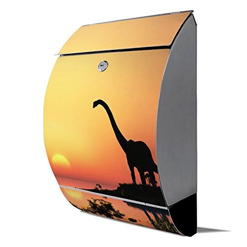 banjado - Design Edelstahl Briefkasten 30cmx45cmx14cm mit Motiv Dinotrauriger
