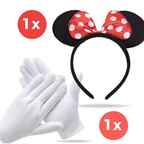 TK Gruppe Timo Klingler Minnie Maus Ohren Kostüm Set mit Handschuhen und Mausohren für Damen an Fasching & Karneval (Set)