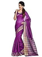 Shonaya Purple Banarasi Art Silk Woven Work Saree With Unstitched Blouse Piece