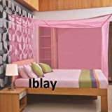 IBLAY Machardani Net Double Bed King Size - 8x8 Ft Mosquito Netting for Bed (Pink)