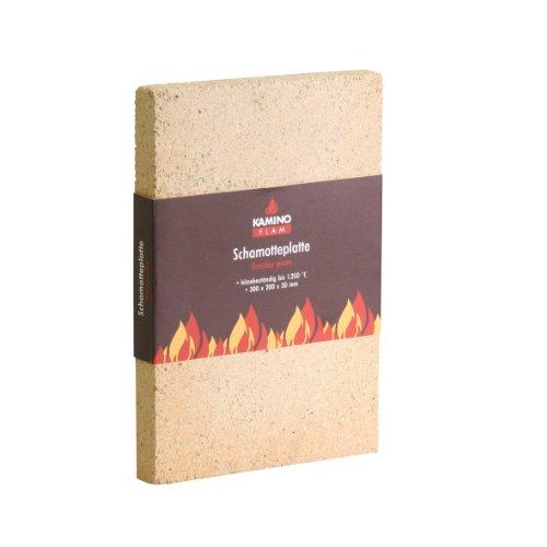 Kamino-Flam Schamotteplatte hitzebeständig bis 1250°C - Schamott für Kamine, Schornsteine & Brennkammern - Ofenplatte, Schamottplatte Ofen & Kamin 300 x 200 x 30 mm