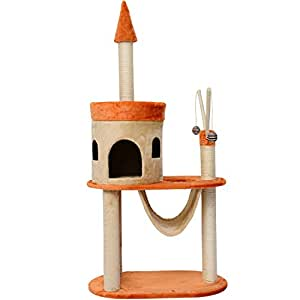 Pawhut Multi Level Cat Activity Centre Sisal Kitten Tree Scratch Scratcher Scratching Post Toy Climbing Tree Bed Beige with Orange 140cm