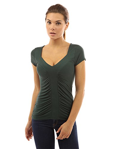 PattyBoutik Damen Rüschen Bluse mit Kurzen Ärmeln und V-Ausschnitt Dunkelgrün