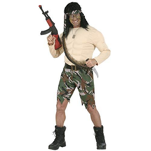 Widmann 73492 - Erwachsenenkostüm Supermuskel Soldat, Kostüm, Gürtel und Stirnband, Größe M