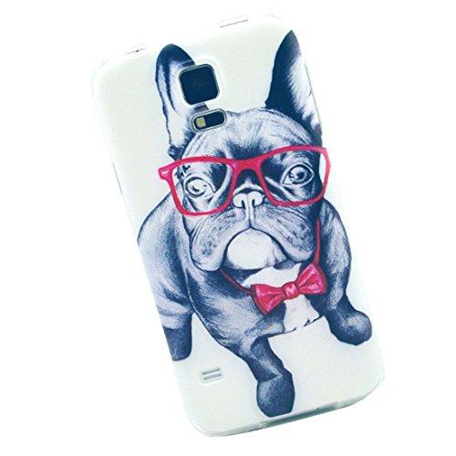 Cuitan Hoch Qualität Weiche TPU Hülle für Samsung Galaxy S5, Brille Hund Muster Rück Abdeckung Modisch Schutzhülle Tasche Case Cover Handytasche Rückseite Tasche Back Cover Handyhülle für Samsung Galaxy S5 i9600 - Brille Hund