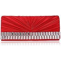 Best 4U® Femme Sacs Polyester Sac de soirée Détail Cristal pour Mariage Soirée Fête Toute Saison Noir Rouge Amande