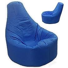 MaxiBean - Puf relleno de judías con respaldo para adultos, tamaño XXL, para interiores y exteriores, color azul (impermeable y resistente a la intemperie)