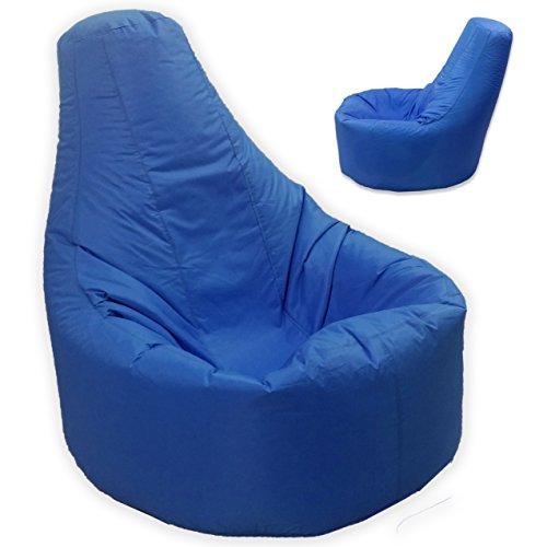 Gamer sillón reclinable y puf de tamaño grande para exteriores e interiores para videojuegos para XXL azul - asiento de silla puf (agua y resistente a la intemperie)