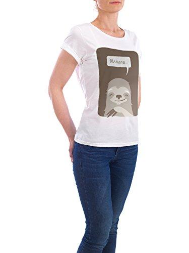 "Design T-Shirt Frauen Earth Positive ""Mañana"" - stylisches Shirt Tiere Natur Kindermotive Comic von Bastian Groscurth Weiß"