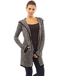PattyBoutik femmes gilet en tricot jaspé à capuche