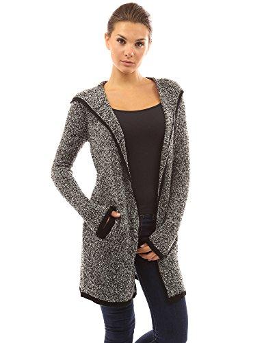PattyBoutik Damen Strickjacke mit Kapuze Tasche und Langen Armen (schwarz und weiß 36/S)