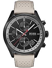 Hugo Boss–Chronographe avec Bracelet en Cuir Beige pour Homme