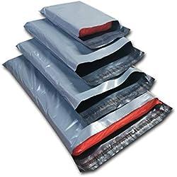 Dhoole Lot de 100 sacs d'expédition postale en plastique Gris