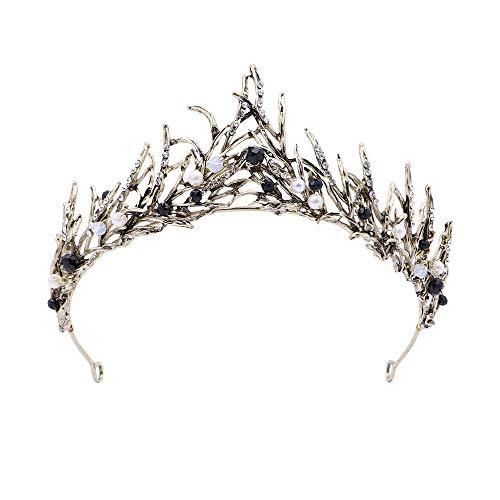 Deer Platz Vintage Prinzessin Haar Krone, Handgemachte Gold Blatt Tiara Perle, Braut Krone Hochzeit Tiaras Haar-Accessoire Abschlussball